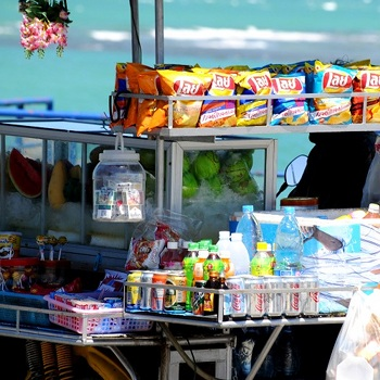 Selling fruits, drinks and snacks